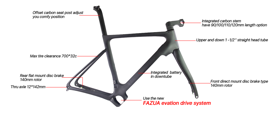 full carbon road disc ebike frame
